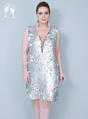Vestido Tubinho Metalizado Paetê Prata