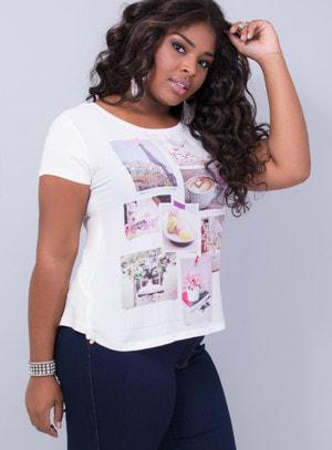 T-shirt em Malha com Brilhos Paris