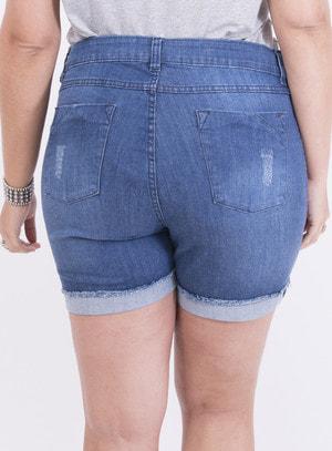 Short em Jeans com Elastano com Aplicação nos Bolsos e Barra Italiana