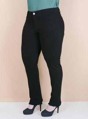 Calça Jeans Skinny Barra Desfiada Preta