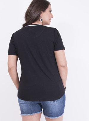 T-shirt em Malha com Aplicação em Paetê Pug
