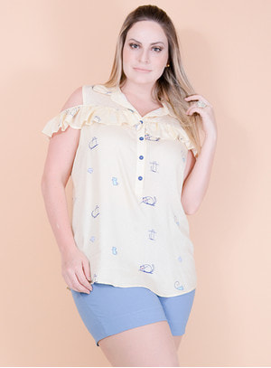 Blusa Ciganinha em Viscose Estampa de Gatinhos