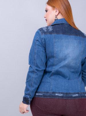 Jaqueta em Jeans com Elastano Bicolor com Recortes