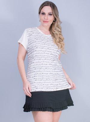 T-Shirt em Malha Estampa de Notas Musicais