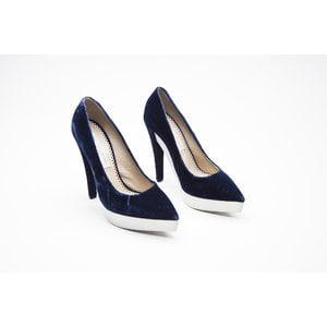 Sapato Stella McCartney em veludo azul marinho