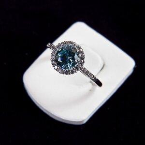 Anel Gracie em topazio azul em prata