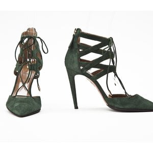 Sapato Aquazzura em camurça verde
