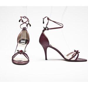 Sandalia Dior em couro bordô