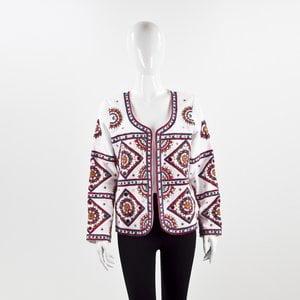 Jaqueta Nour em cotton bordada com espelhos branca