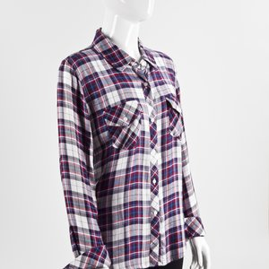 Camisa Rails flanelada xadrez em azul e branco