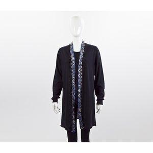 Cardigan Pucci malha com bordado azul marinho