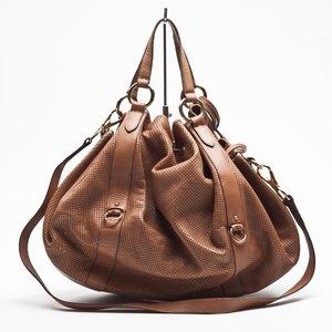 Bolsa Ralph Lauren em couro furadinho caramelo