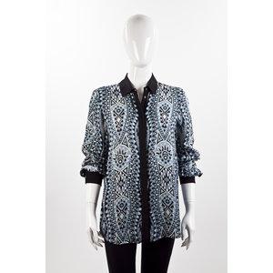 Camisa Pucci em seda turquesa e preto
