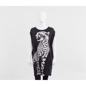 T-shirt longa StellaMccartney preto/onça
