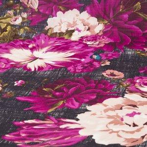 Lenço Kenzo em cashmere preto e rosas pink