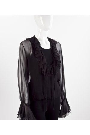 Camisa Vince em musseline com babados preto