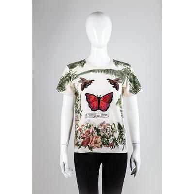 T-Shirt Gucci Tecido Creme/Flores