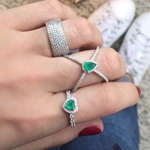 Aliança Coração Esmeralda Prata 925