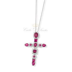 Colar Crucifixo Rubi Prata925