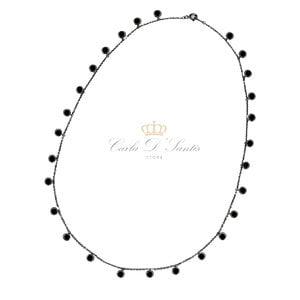 Colar Lilian Ponto Luz 50 Cm Ródio Negro Prata925