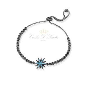 Pulseira Ajustavel Estrela Black/Blue Prata925