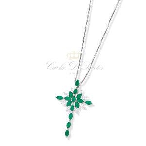 Colar Crucifixo Esmeralda Nova Coleção Prata 925