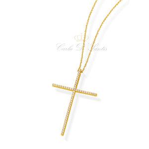 Colar Crucifixo Cravejado Ouro