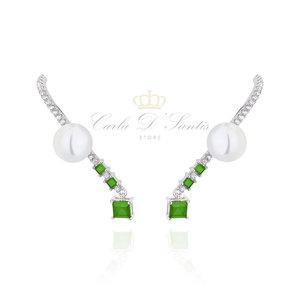 Ear Hook Esmeralda com perola Prata925