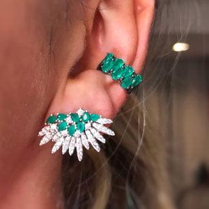 Brinco Ear Cuff Paula Cravejado Esmeralda Prata925
