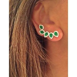 Brinco Ear cuff Gotas Esmeralda Prata925