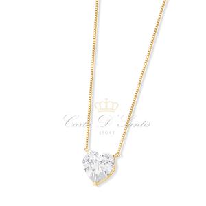 Colar Coração Cristal Ouro Prata925