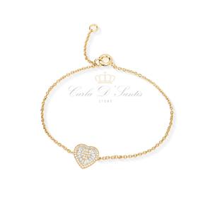 Pulseira Coração Baguete Lisa Ouro Prata925