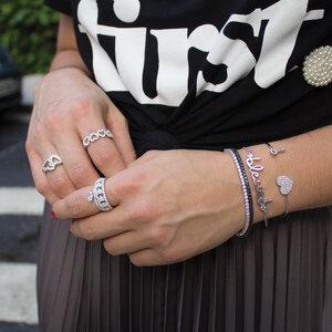 Bracelete Coracao com chave Prata925