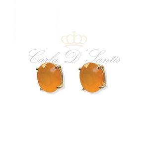 Brinco Oval Orange Ouro