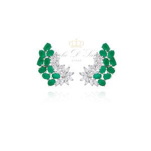 Brinco Ear Cuff Cravejado de Zirconias verdes e Brancas Prata925