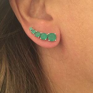 Brinco Ear Cuff Redondo Esmeralda