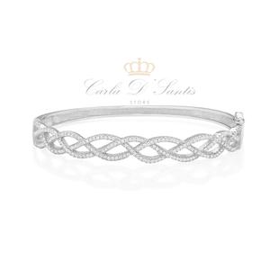 Bracelete Luxo todo Cravejado Prata 925