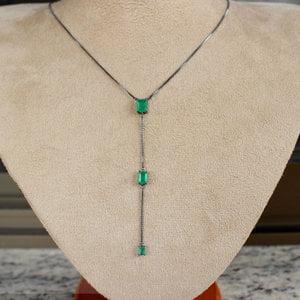 Colar Gravata Retângulo Esmeralda Fusion Negra PRATA925