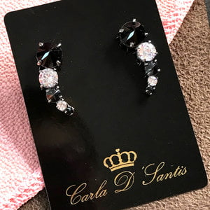 Brinco Ear Cuff Cristal e Negro Prata925