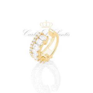 Brinco Piercing Baguete Cristal Ouro Prata925