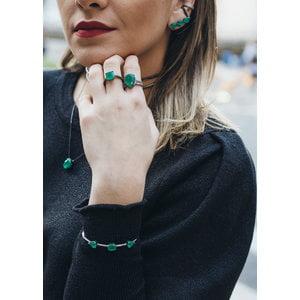 Bracelete Rodio Negro com Zirconias Esmeralda Fusion