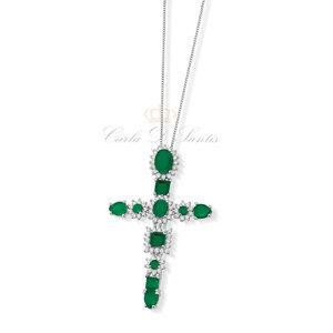 Colar Crucifixo Esmeralda Fusion Prata925