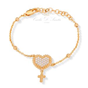 Pulseira Coração com Cruzinha Ouro