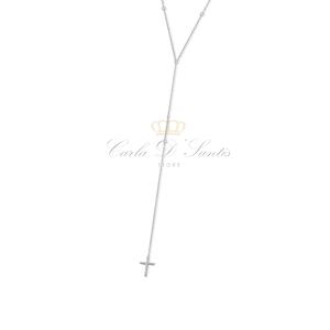 Colar Choker/Gravata com Ponto Luz e Cruz Prata925