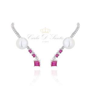 Ear Hook Rubi com perola Prata925