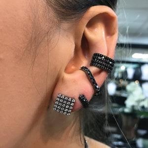 Piercing Pressão Vegas Micro cravação Negro Prata925