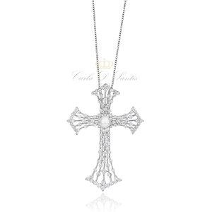 Colar Crucifixo Pérola Luxo Longo Prata925