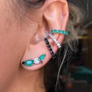 Brinco Ear Cuff Pandora Esmeralda Prata925