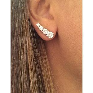 Brinco Ear Cuff Zirconias Semi Joia