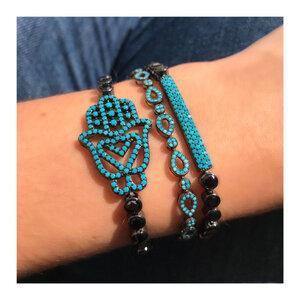Pulseira Riviera Black com Mão de Hansa Azul